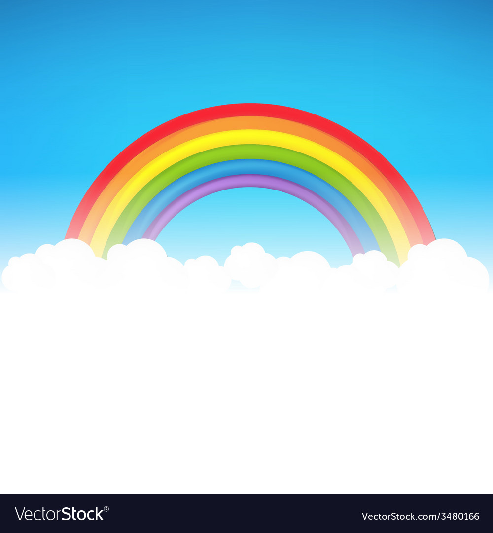 Color rainbow with cloud vector | Price: 1 Credit (USD $1)