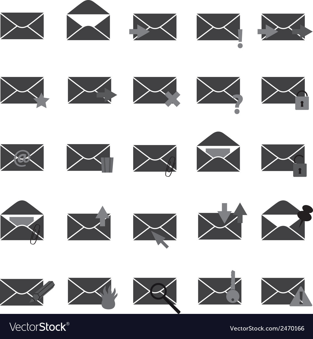 Computer mail simple gray icons eps10 vector   Price: 1 Credit (USD $1)