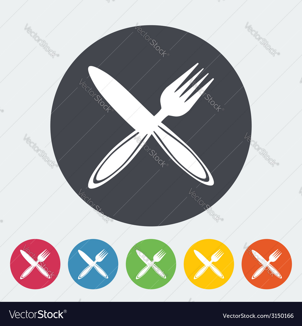 Cutlery single flat icon vector | Price: 1 Credit (USD $1)