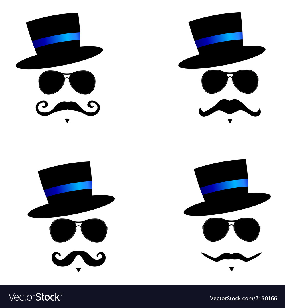 Face with mustache with blue hat color vector | Price: 1 Credit (USD $1)