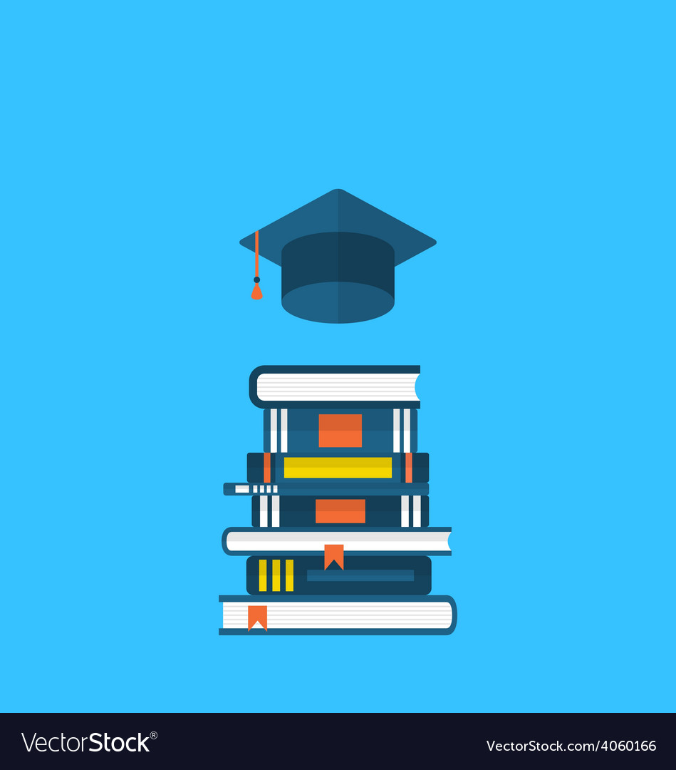 Flat icons of graduation cap and heap textbooks vector | Price: 1 Credit (USD $1)