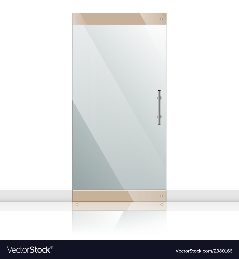 Glass door with chrome silver handles set vector | Price: 1 Credit (USD $1)