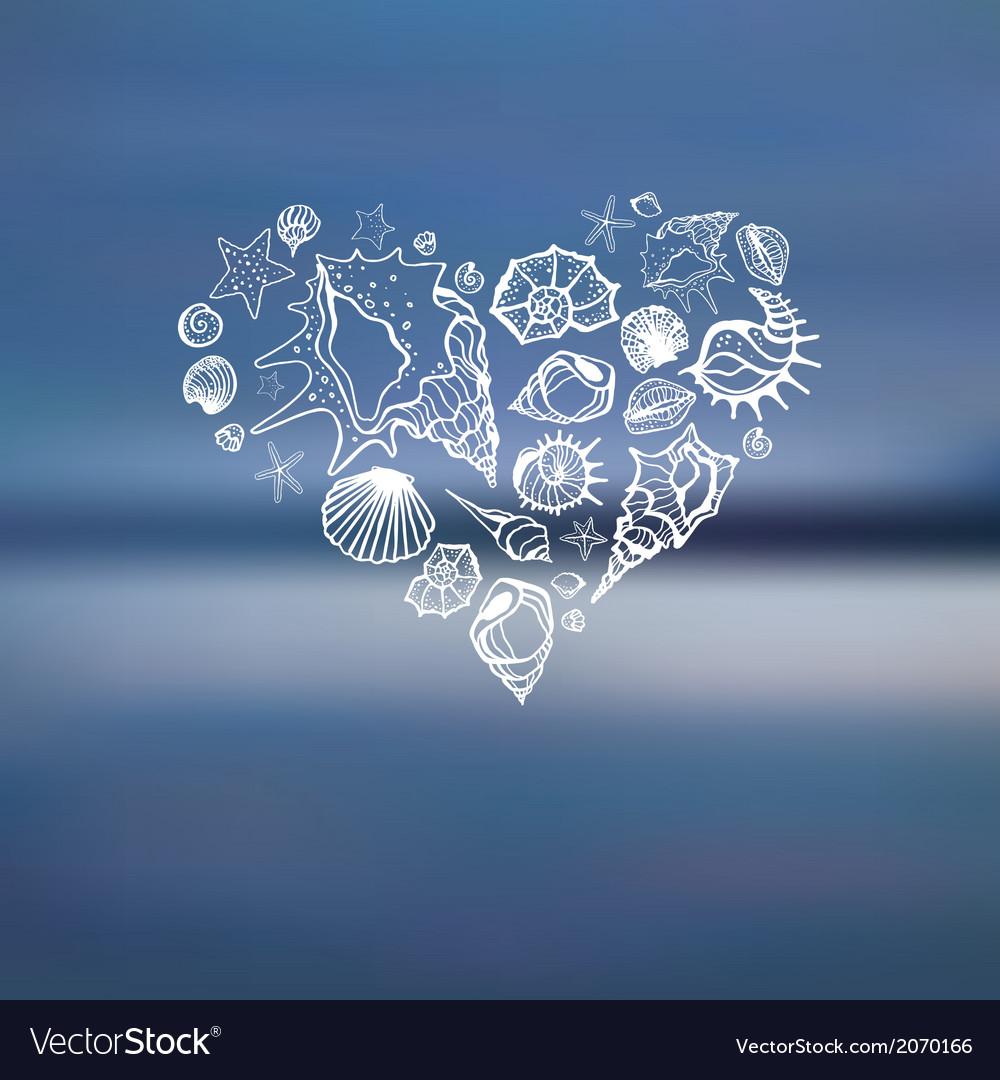 Heart of sea shells summer holidays vector   Price: 1 Credit (USD $1)