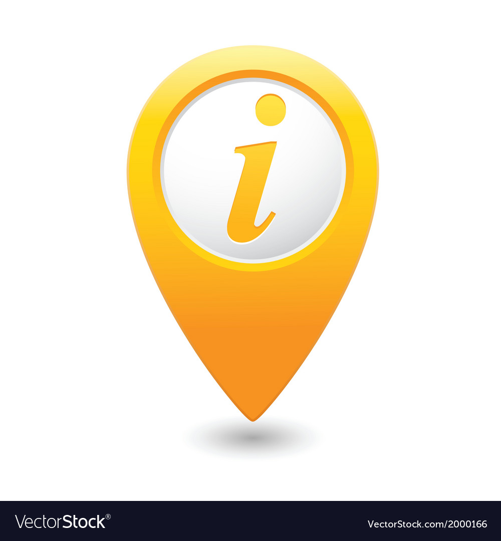 Information icon yellow map pointer vector | Price: 1 Credit (USD $1)