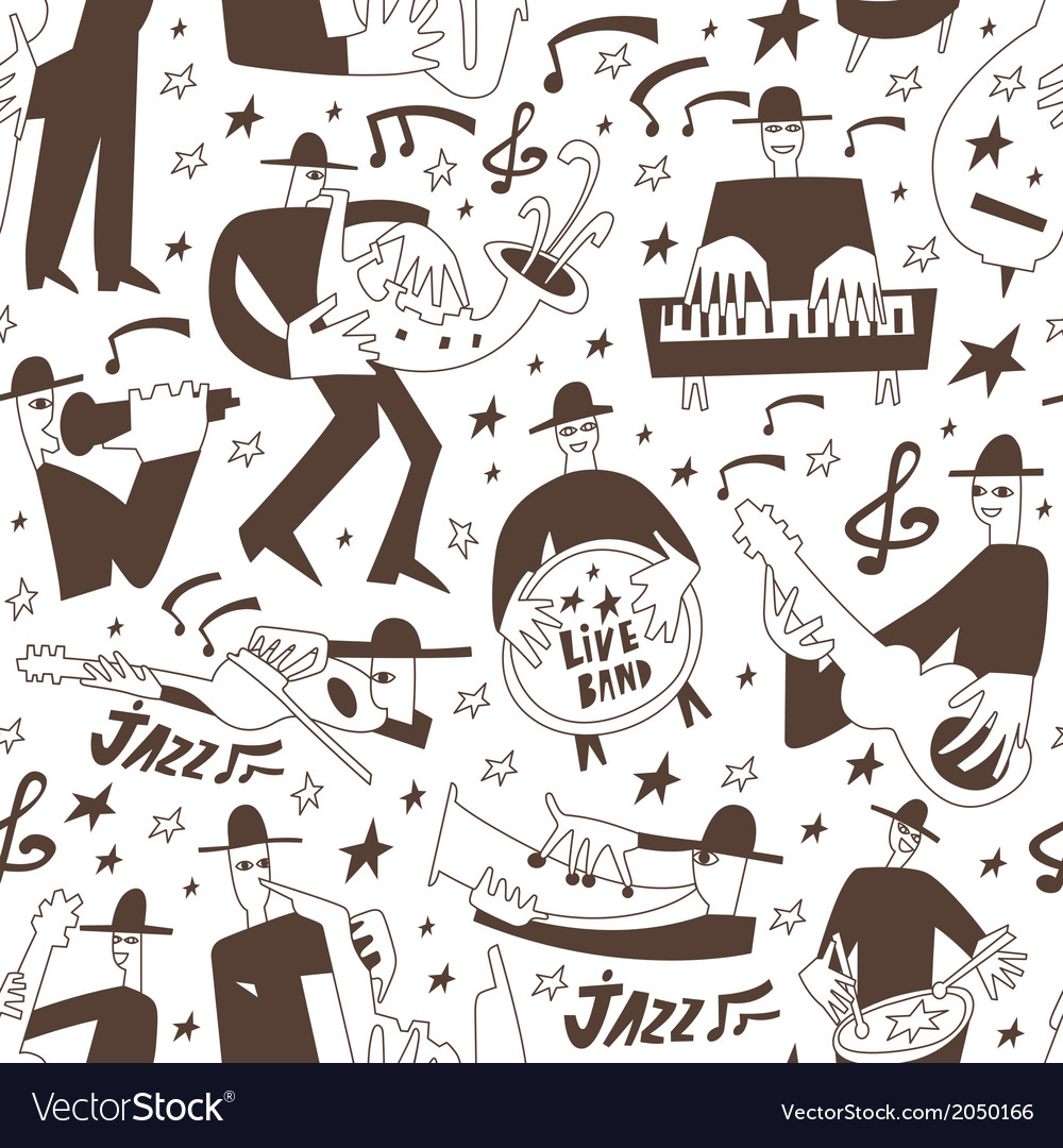 Jazz musicians -seamless background vector | Price: 1 Credit (USD $1)
