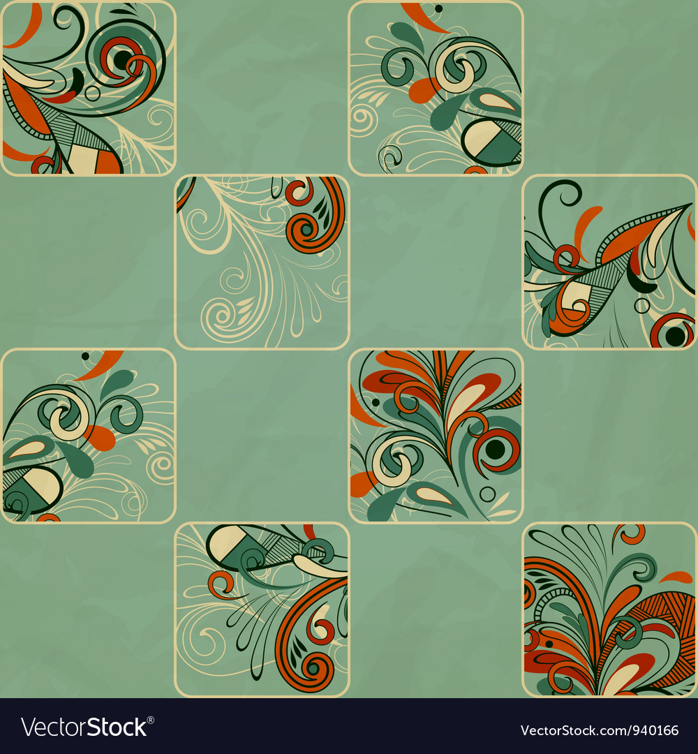 Pattern with floral elements in frames vector | Price: 1 Credit (USD $1)