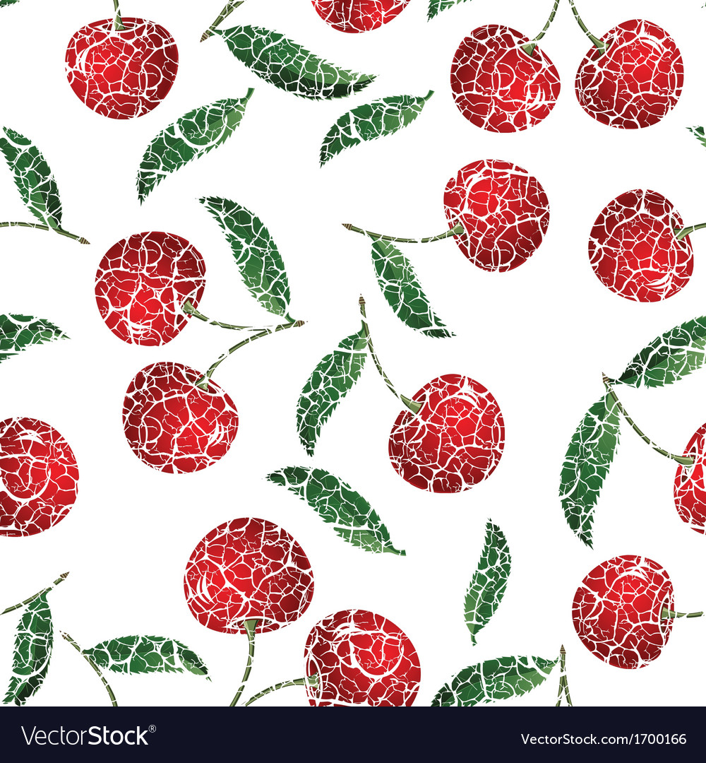 Seamless red cherry background vector | Price: 1 Credit (USD $1)