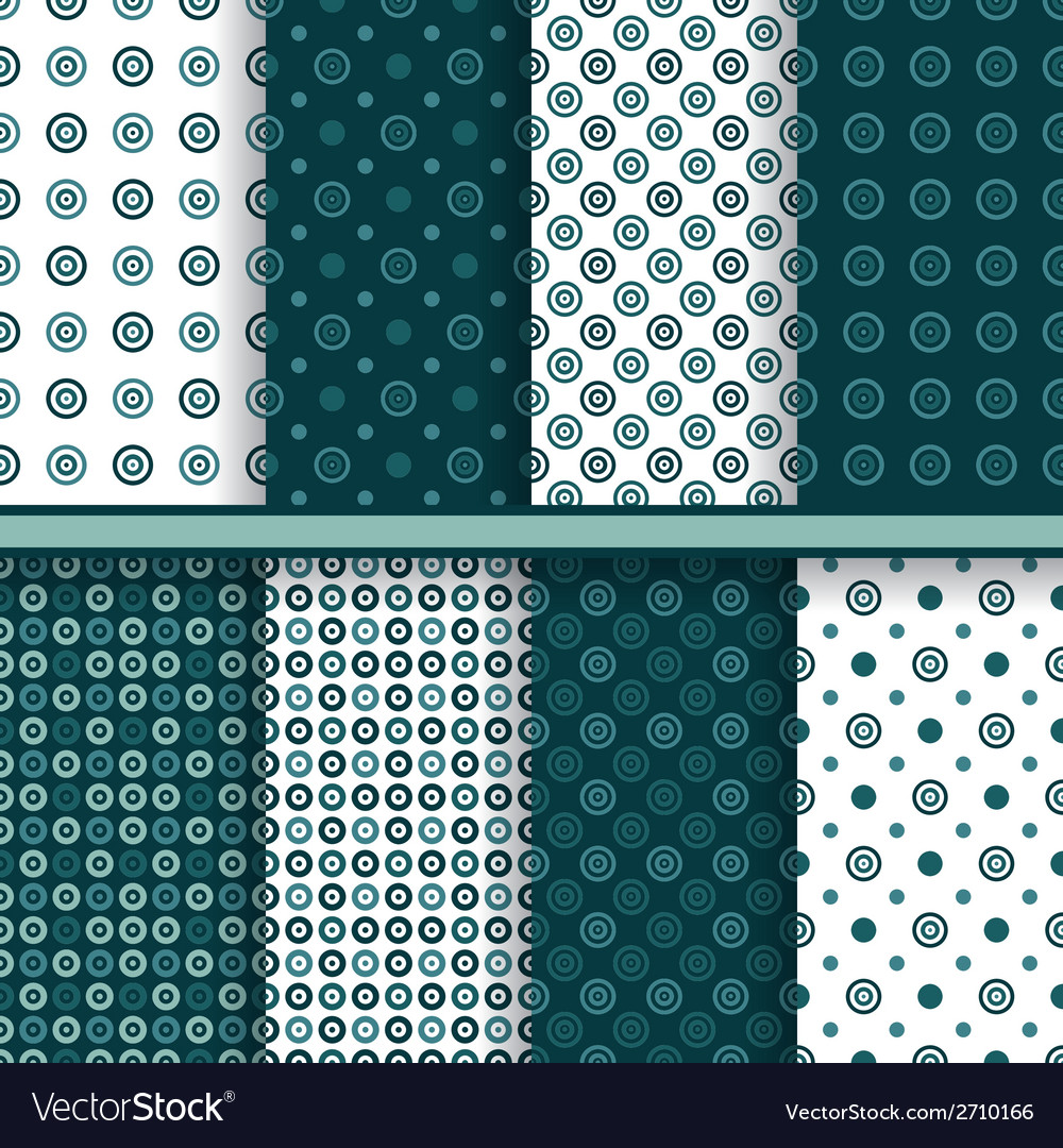 Set of circle round seamless patterns vector | Price: 1 Credit (USD $1)