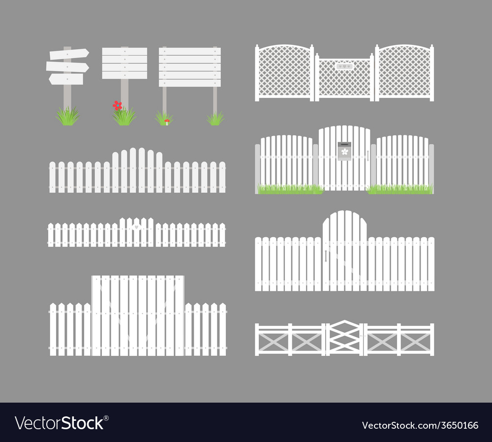 Set of white fences vector | Price: 1 Credit (USD $1)