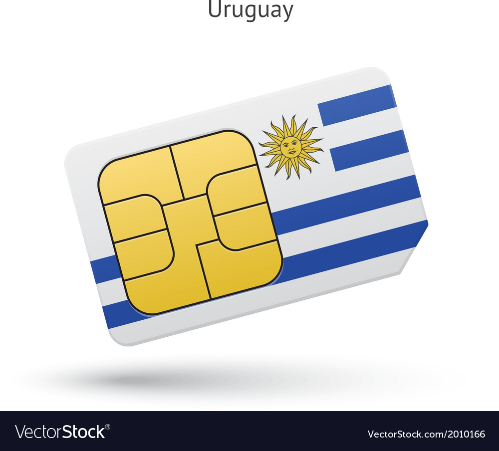 Uruguay mobile phone sim card with flag vector | Price: 1 Credit (USD $1)