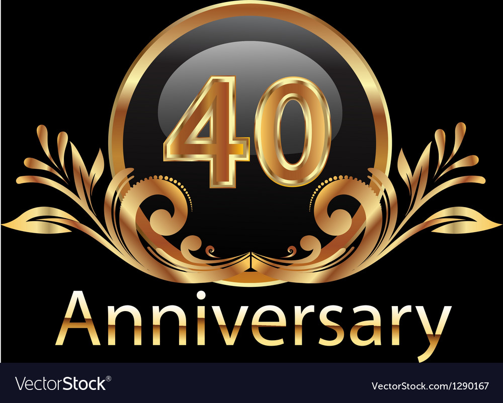 40 years anniversary birthday in gold vector | Price: 1 Credit (USD $1)