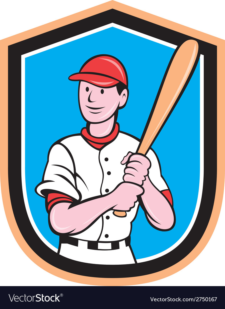 American baseball player bat shield cartoon vector | Price: 1 Credit (USD $1)