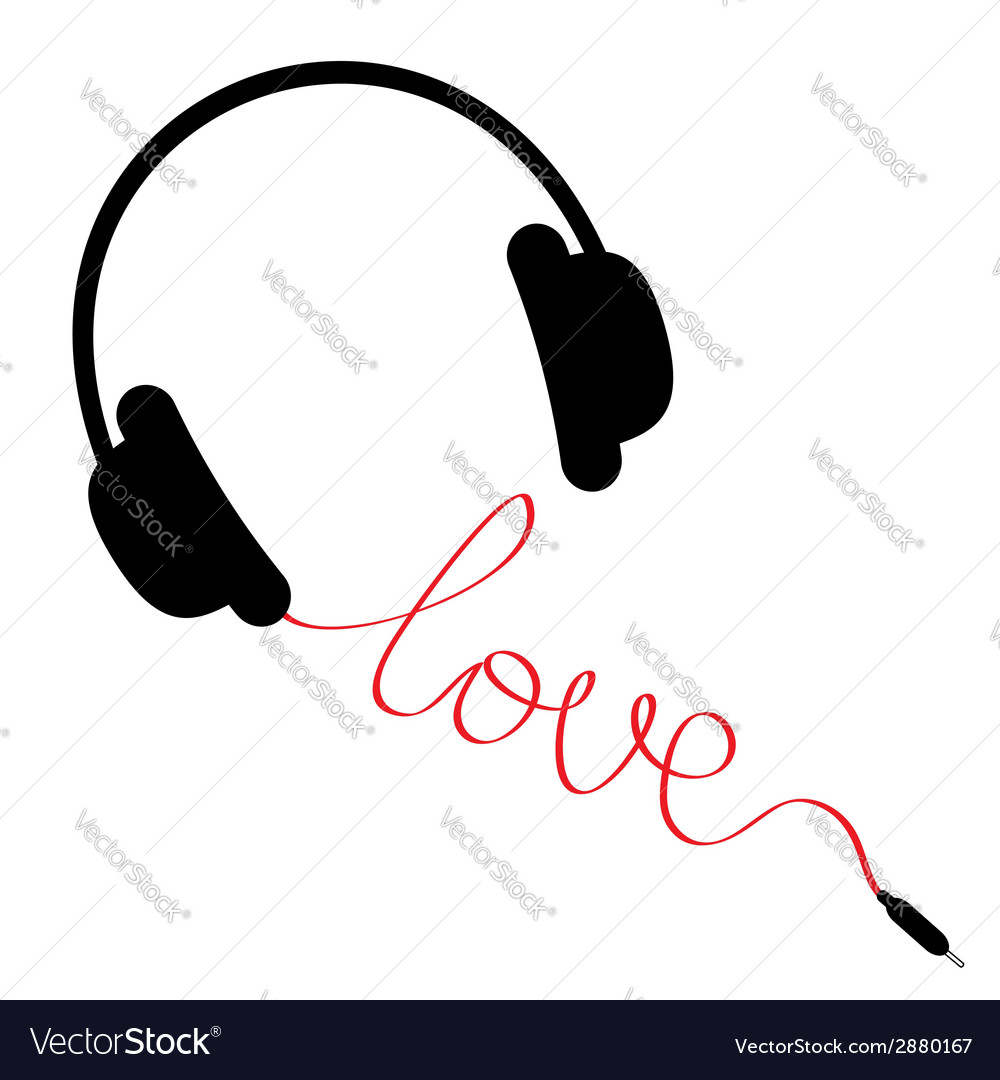 Black headphones with red cord in shape love vector | Price: 1 Credit (USD $1)