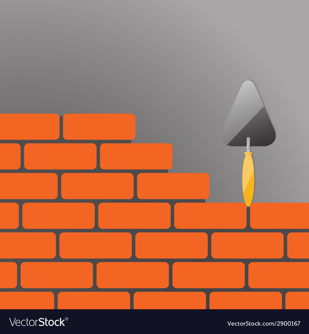 Bricks and trowel 02 vector | Price: 1 Credit (USD $1)