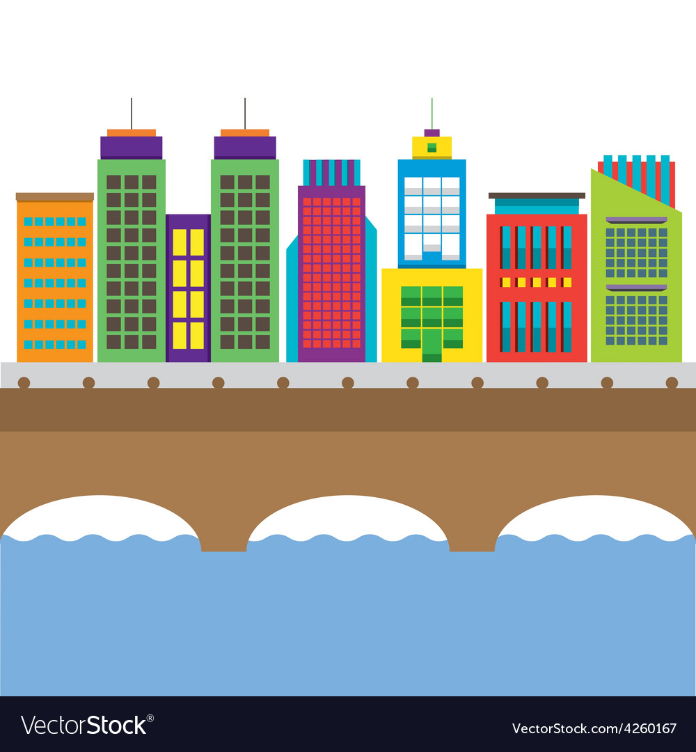 Bridge cross river and buildings on land vector | Price: 1 Credit (USD $1)