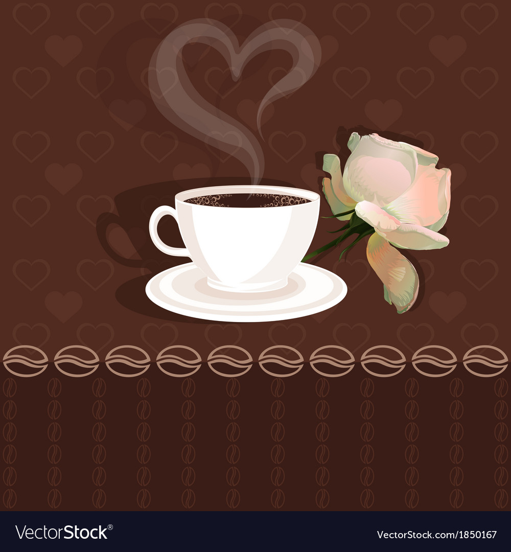 Coffee cup and flower rose vector | Price: 1 Credit (USD $1)