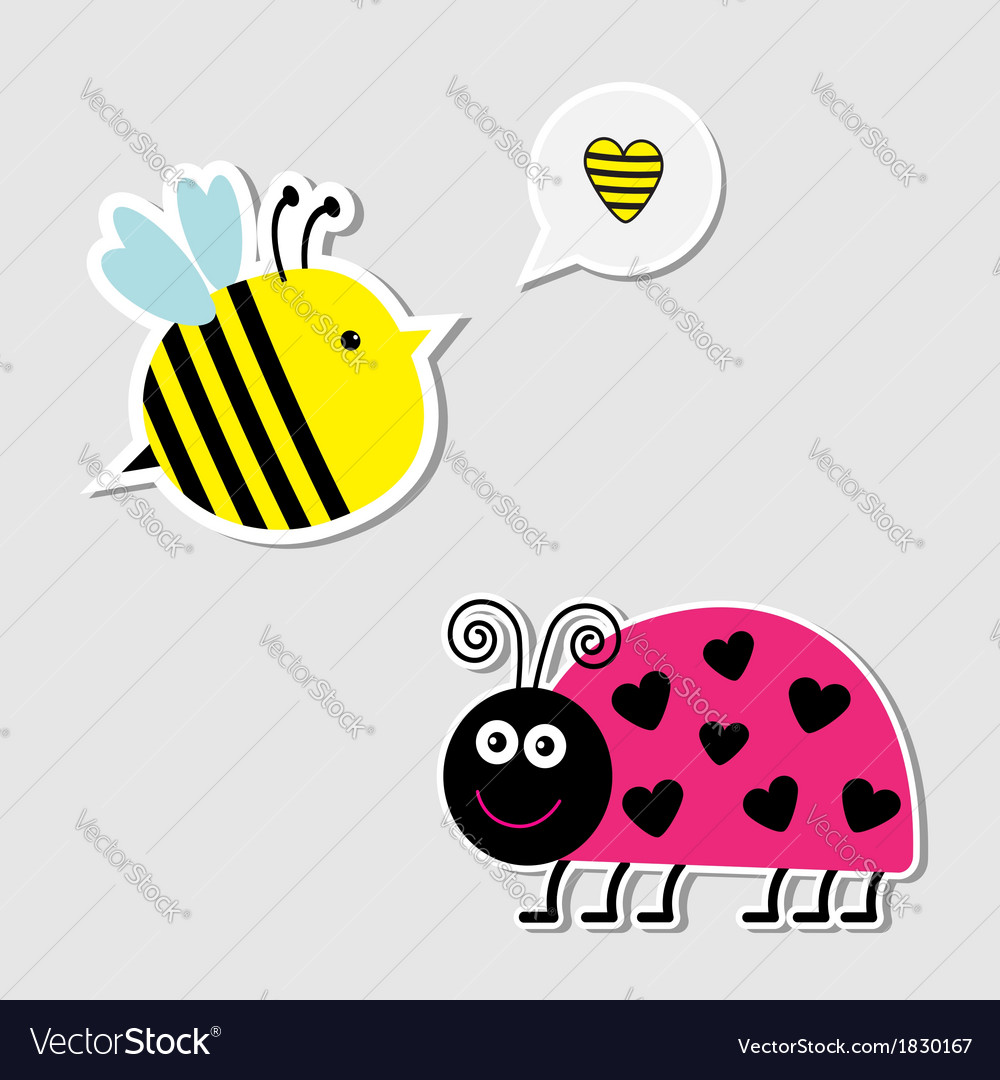 Cute cartoon bee and lady bug card vector | Price: 1 Credit (USD $1)