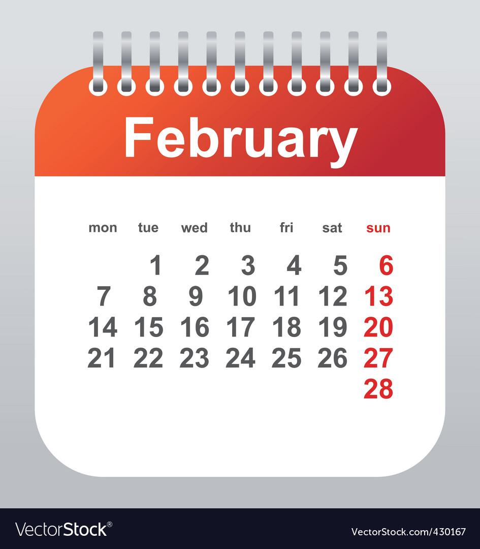February calendar vector | Price: 1 Credit (USD $1)