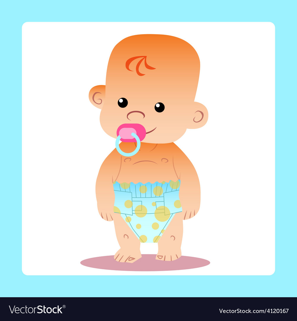 Happy baby with a pacifier in diapers vector | Price: 1 Credit (USD $1)