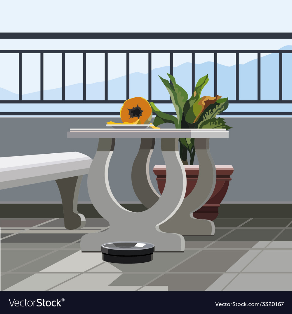 Interior balcony table with fruit papaya and vector | Price: 3 Credit (USD $3)