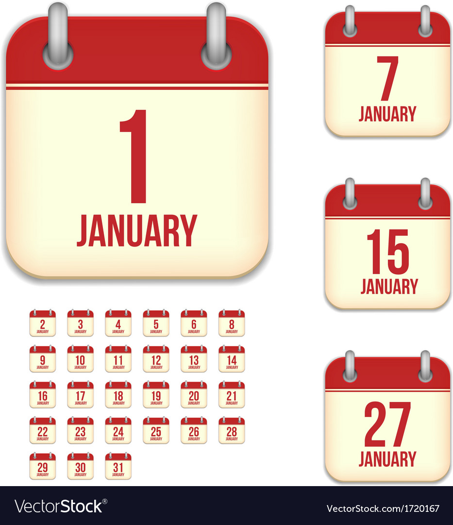 January calendar icons vector | Price: 1 Credit (USD $1)