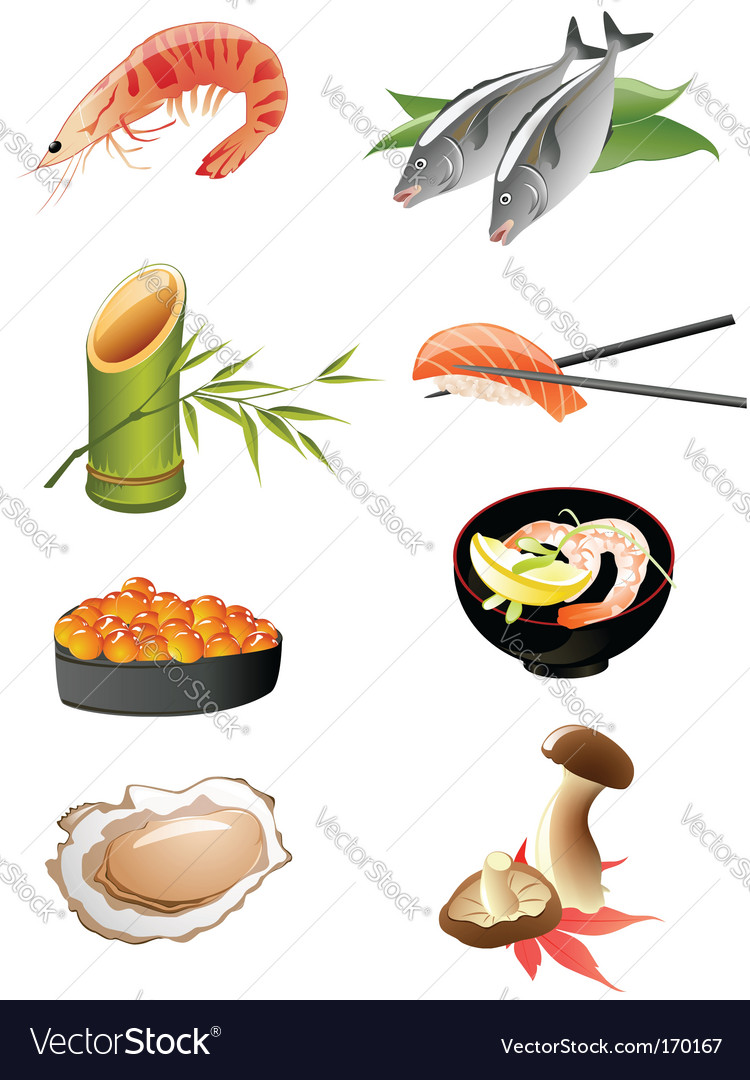 Japanese food icons vector | Price: 3 Credit (USD $3)