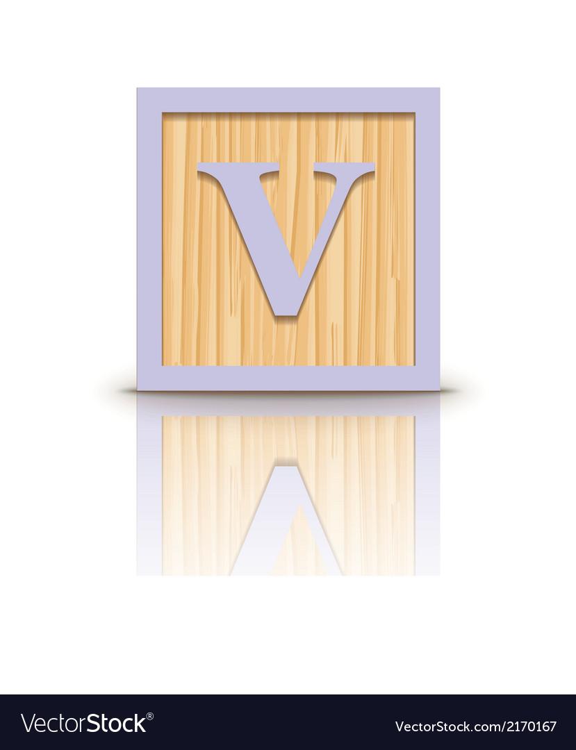 Letter v wooden alphabet block vector | Price: 1 Credit (USD $1)