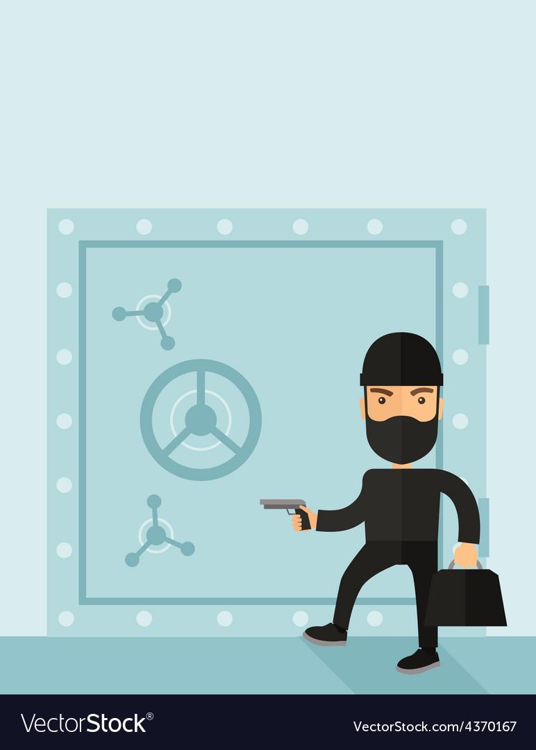 Man in black hacking bank safe vector   Price: 1 Credit (USD $1)