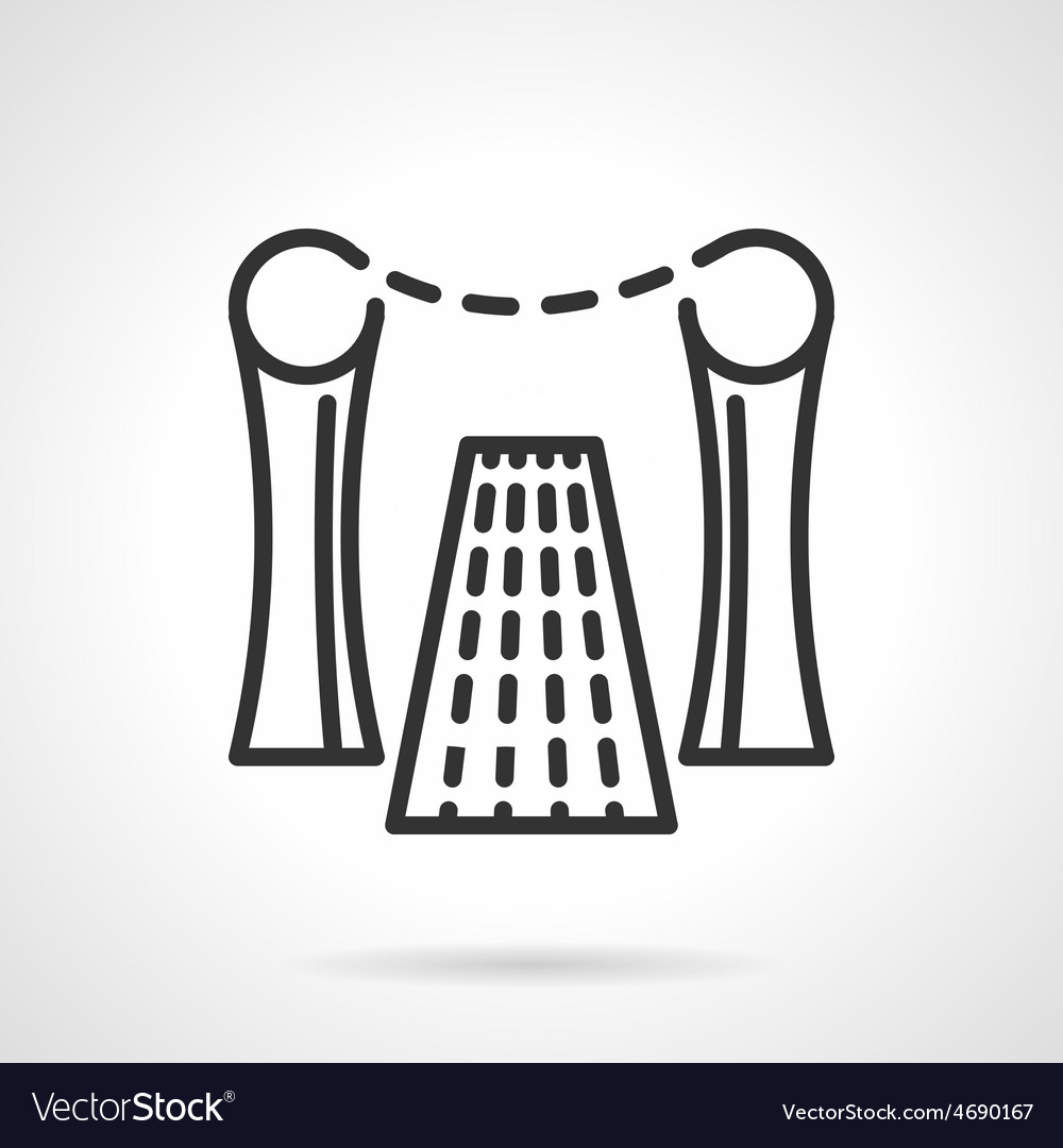Rope barrier black line icon vector | Price: 1 Credit (USD $1)