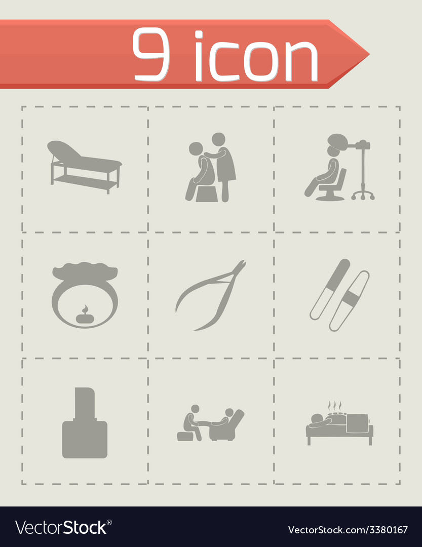 Spa icon set vector | Price: 1 Credit (USD $1)