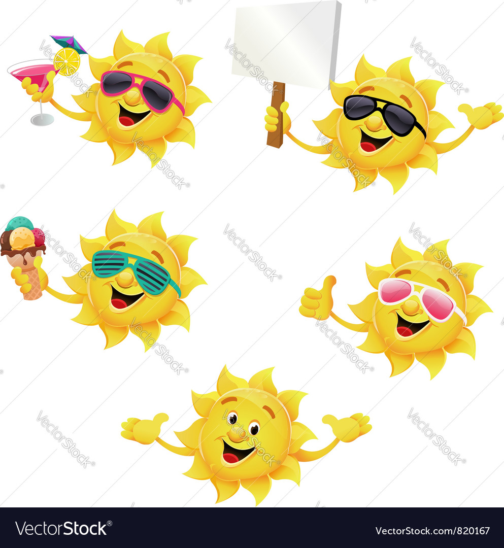 Sun character set vector | Price: 3 Credit (USD $3)
