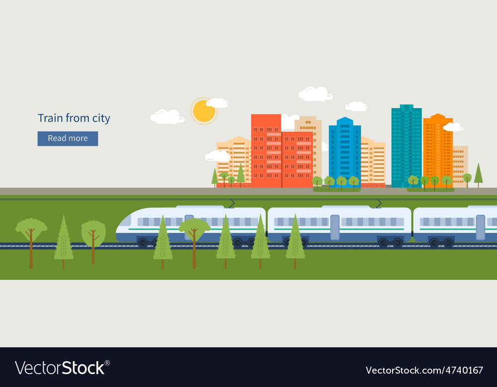 Train on railway with city background vector | Price: 1 Credit (USD $1)