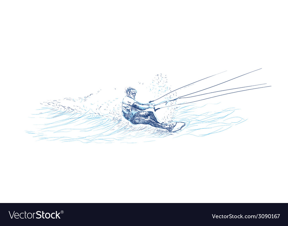 Water skier vector | Price: 1 Credit (USD $1)