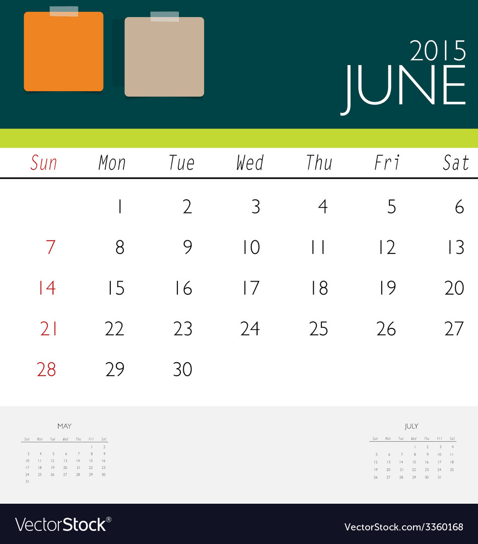 2015 calendar monthly calendar template for june vector | Price: 1 Credit (USD $1)