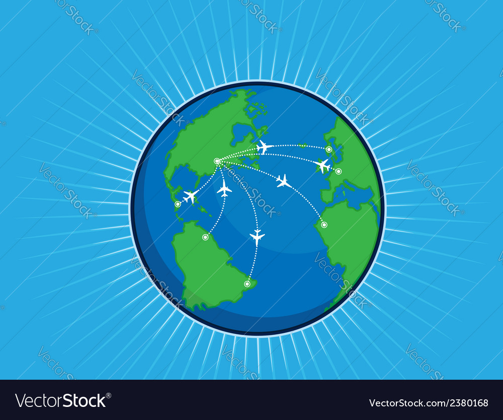 Airplane route around the world globe vector
