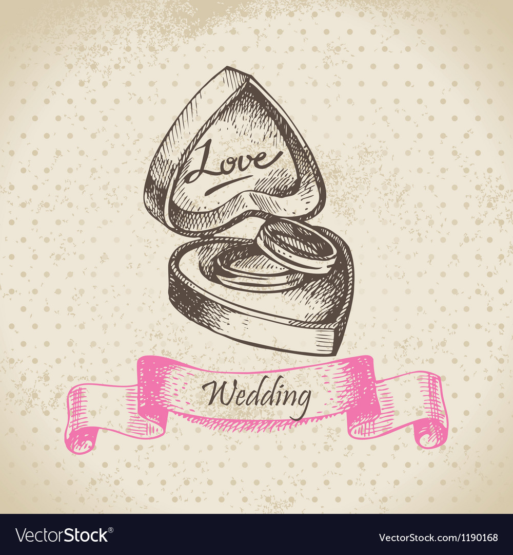 Box with wedding rings hand drawn vector | Price: 1 Credit (USD $1)