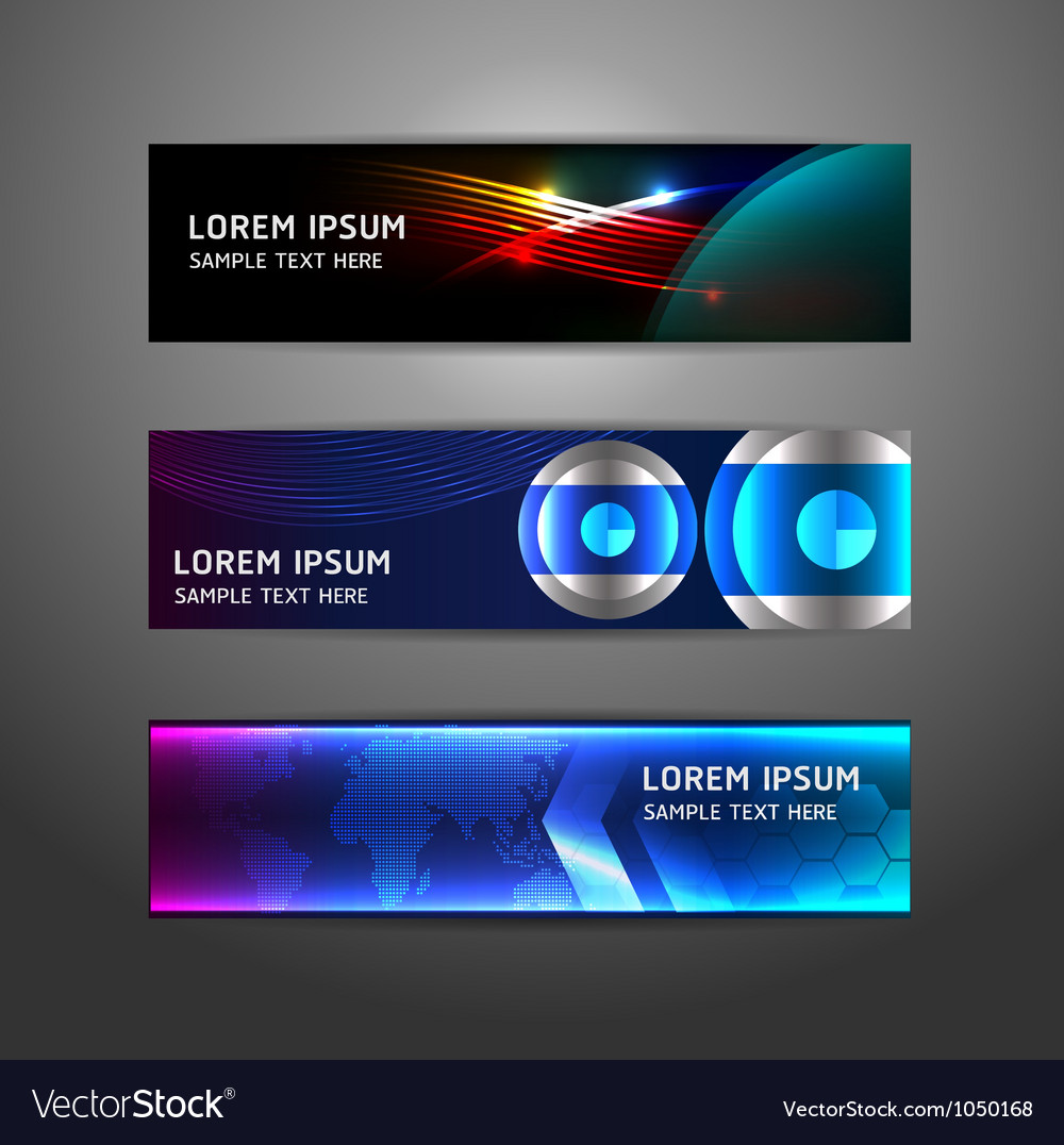 Collection abstract banner design horizontal vector | Price: 1 Credit (USD $1)