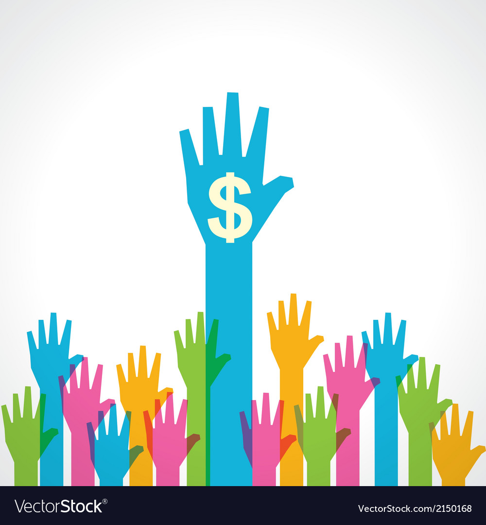Colorful helping hand with dollar symbol vector | Price: 1 Credit (USD $1)