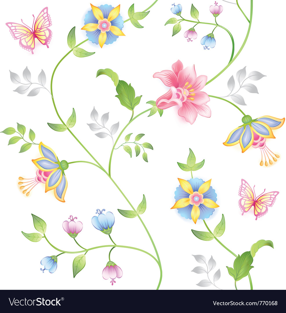 Decor seamless floral vector | Price: 1 Credit (USD $1)