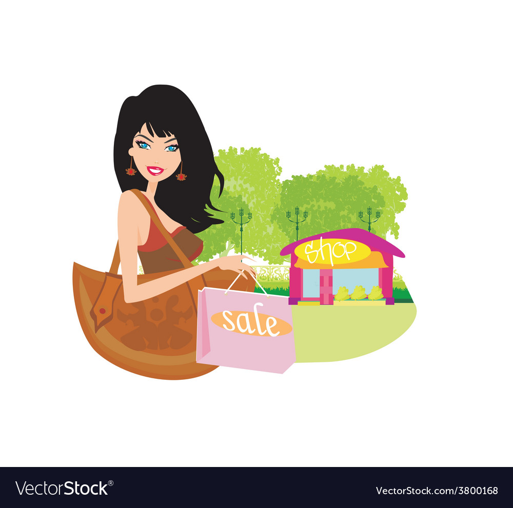 Fashion shopping girl with shopping bags vector | Price: 1 Credit (USD $1)