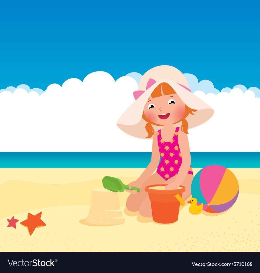 Girl playing on the beach vector | Price: 1 Credit (USD $1)