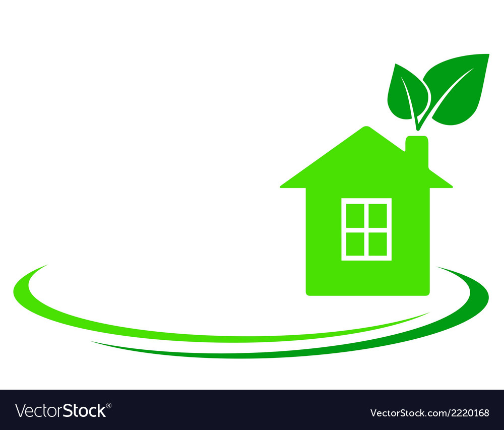 Green leaf and house vector