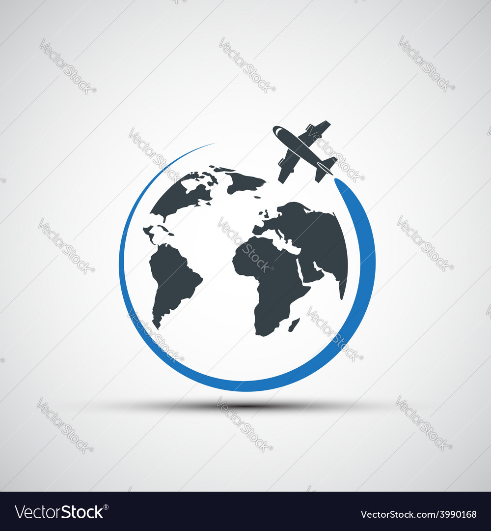 Icons airplane fly around the planet earth vector | Price: 1 Credit (USD $1)