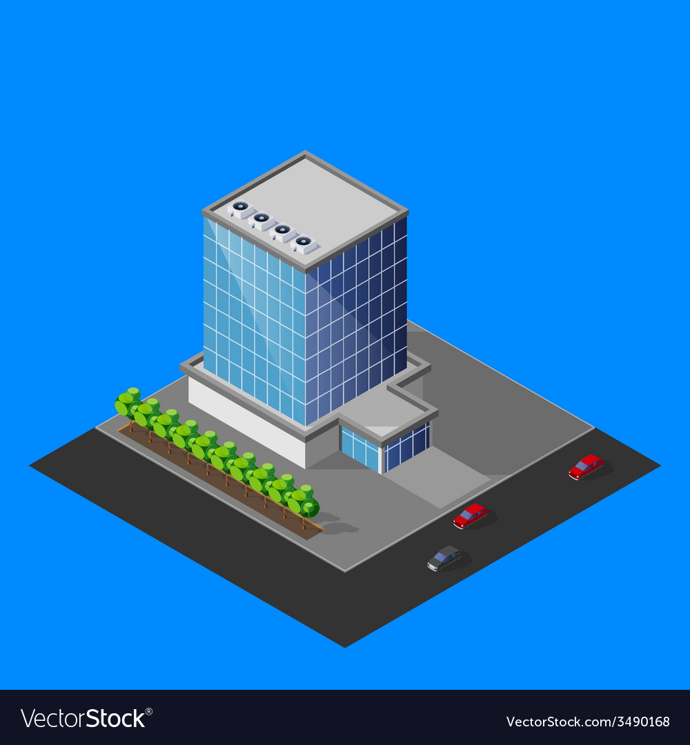 Isometric business center building vector | Price: 1 Credit (USD $1)