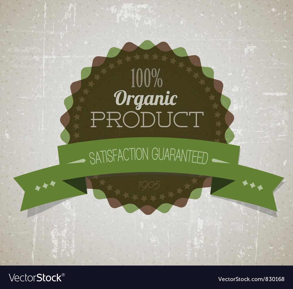 Organicy retro label round green vector | Price: 1 Credit (USD $1)