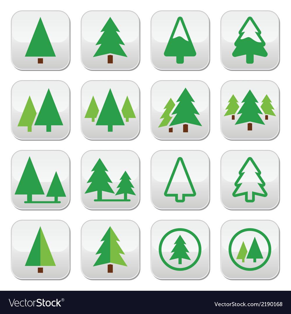 Pine tree park green icons set vector | Price: 1 Credit (USD $1)