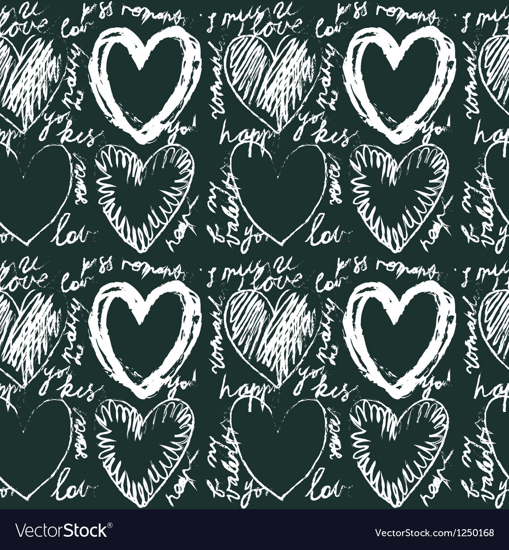 Seamless hand drawn heart pattern vector | Price: 1 Credit (USD $1)