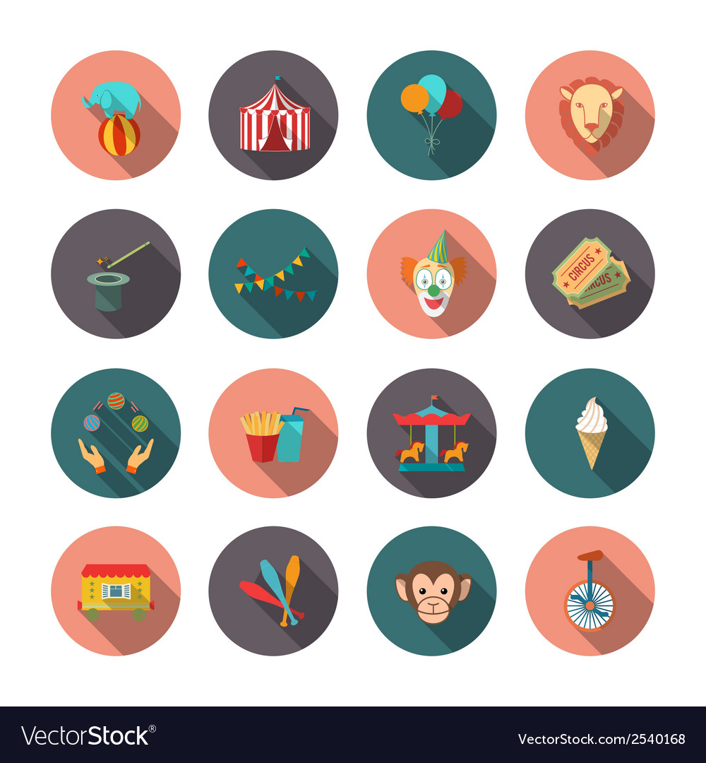 Set of circus flat icons vector | Price: 1 Credit (USD $1)