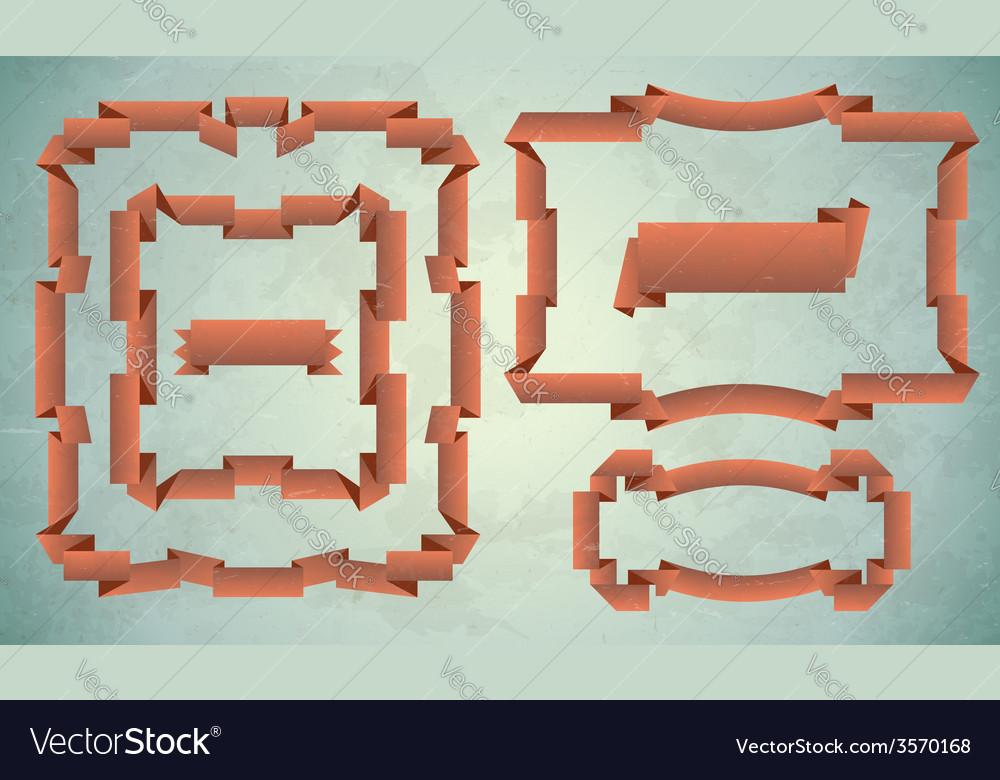 Set of vintage ribbon frames vector | Price: 1 Credit (USD $1)