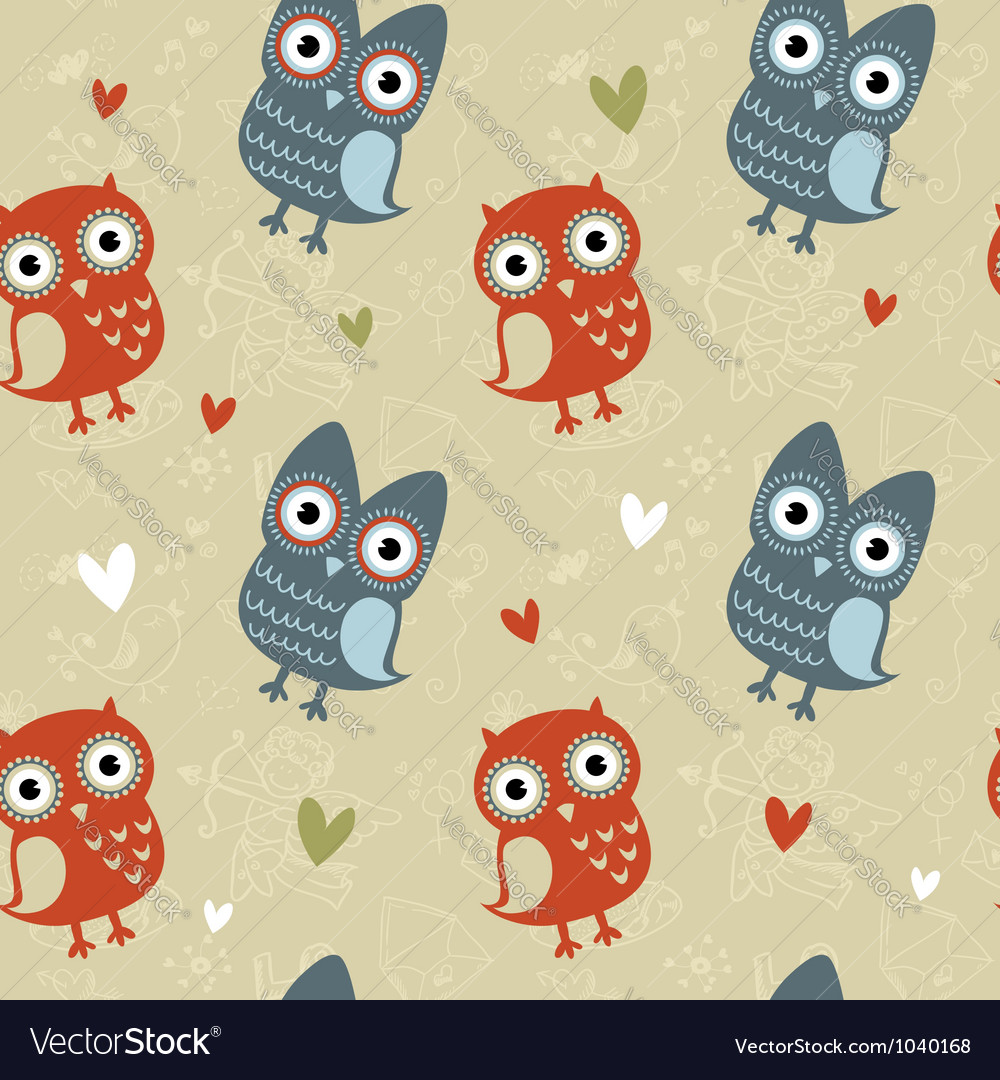 Valentine love seamless texture with cute owls vector | Price: 1 Credit (USD $1)